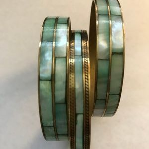 Set of 3 Green Mother of Pearl? and Brass Bangles